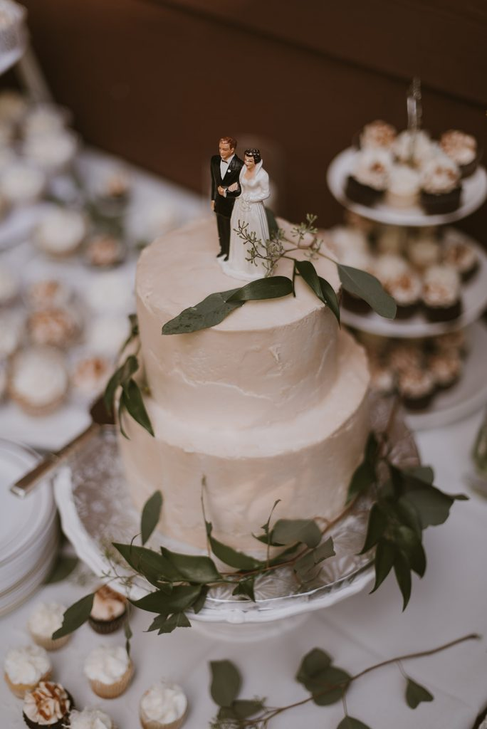 Wedding Cake with Traditional Bride and Groom Cake Topper